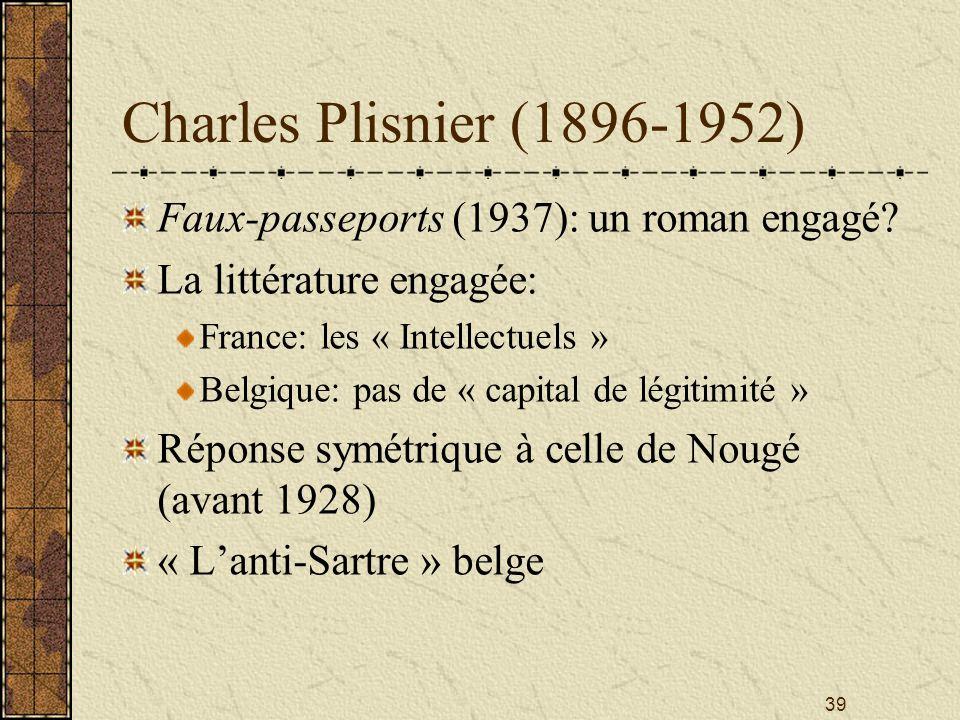 Charles Plisnier (1896-1952) Faux-passeports (1937): un roman engagé