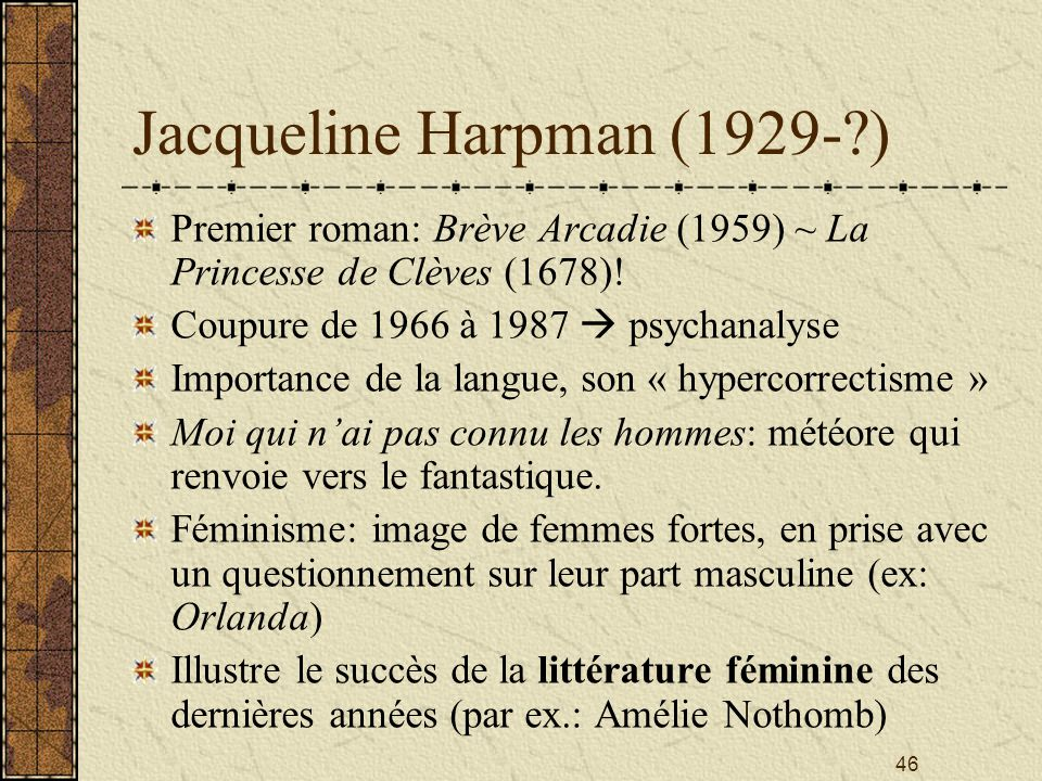 Jacqueline Harpman (1929- )