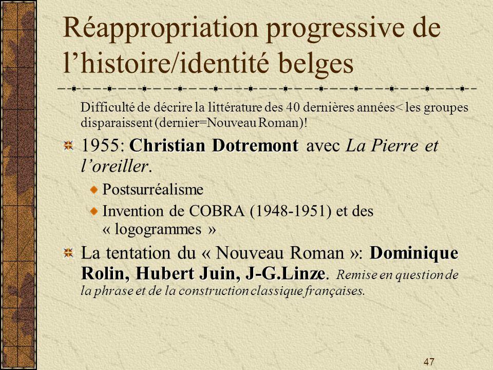 Réappropriation progressive de l'histoire/identité belges