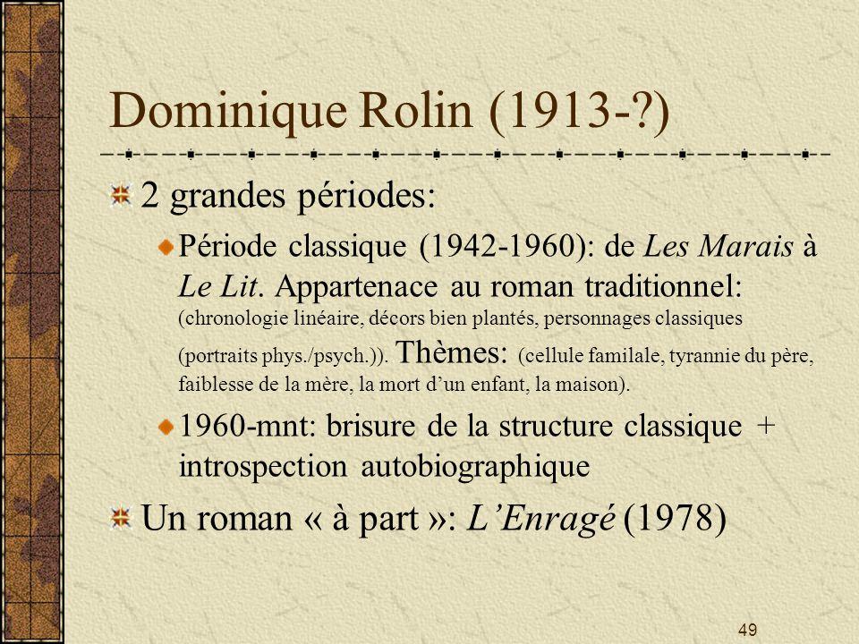 Dominique Rolin (1913- ) 2 grandes périodes: