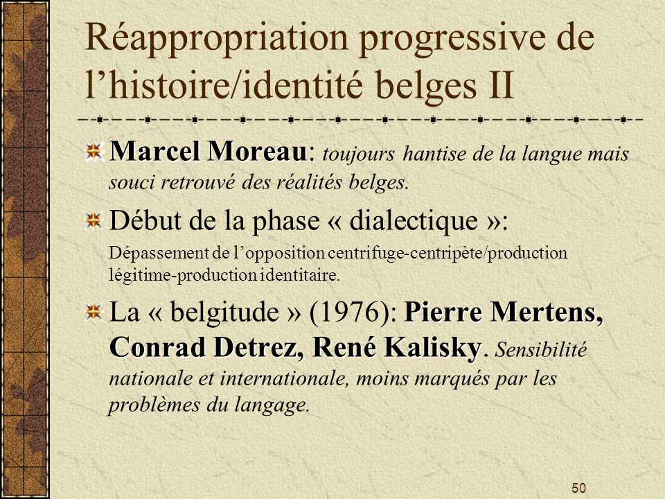 Réappropriation progressive de l'histoire/identité belges II