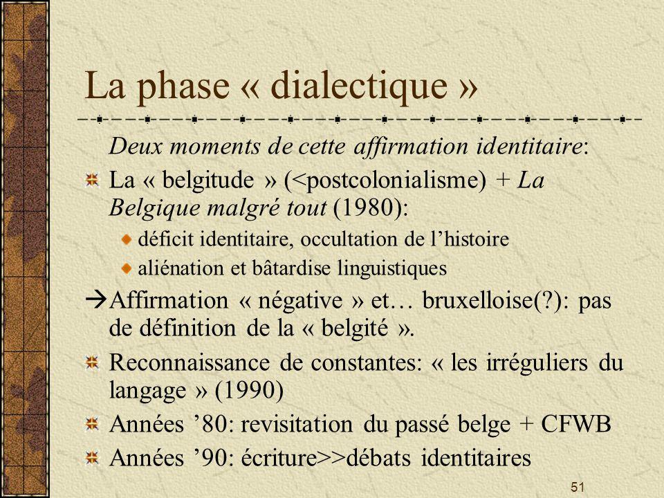La phase « dialectique »