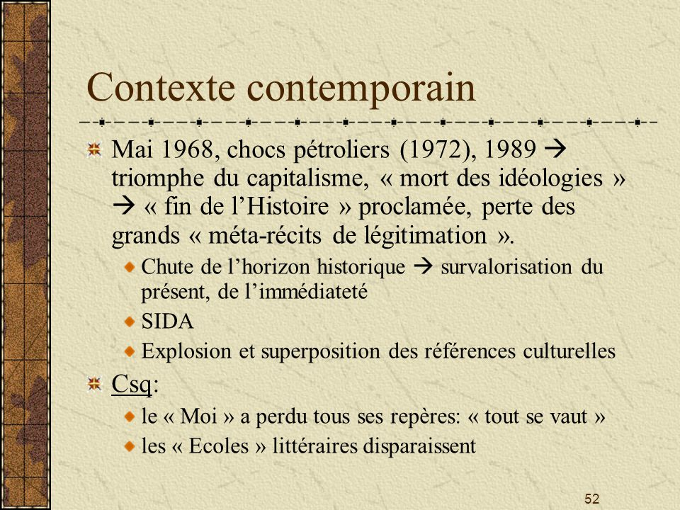 Contexte contemporain