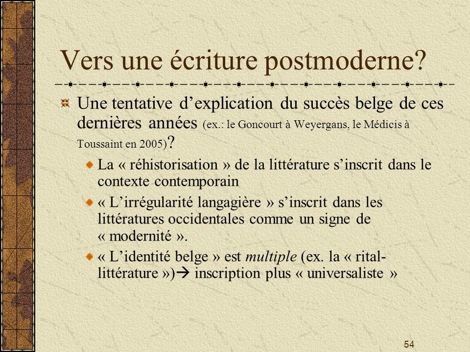 Vers une écriture postmoderne