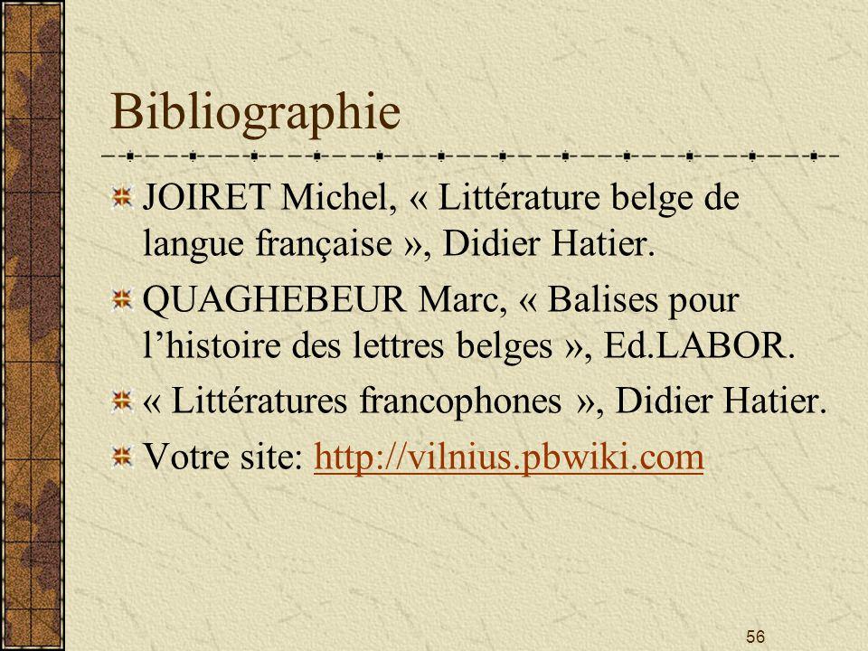 Bibliographie JOIRET Michel, « Littérature belge de langue française », Didier Hatier.