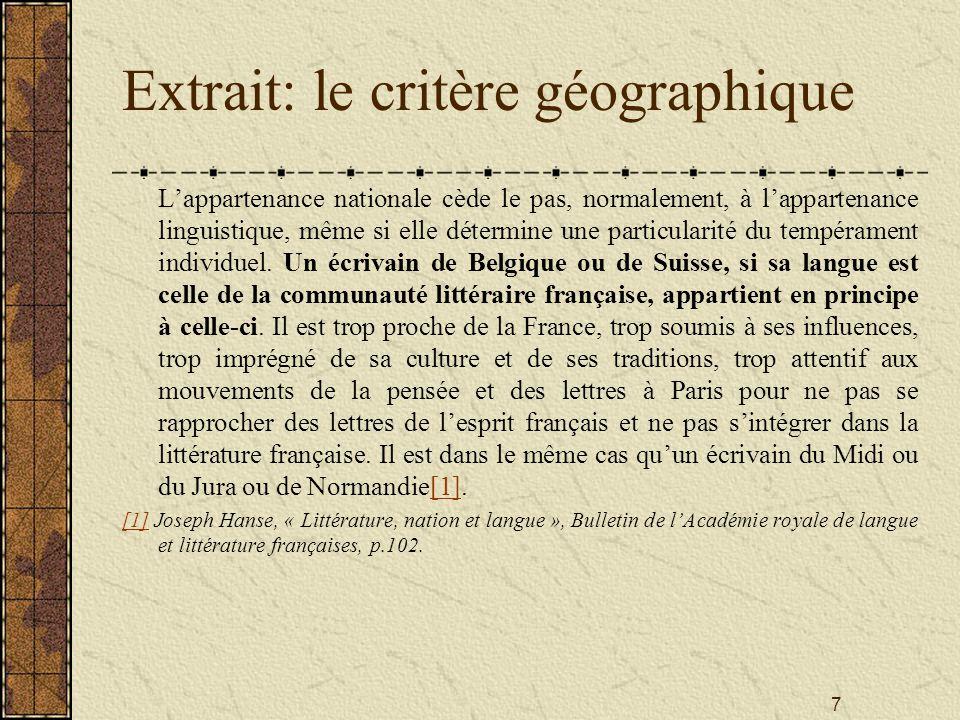 Extrait: le critère géographique