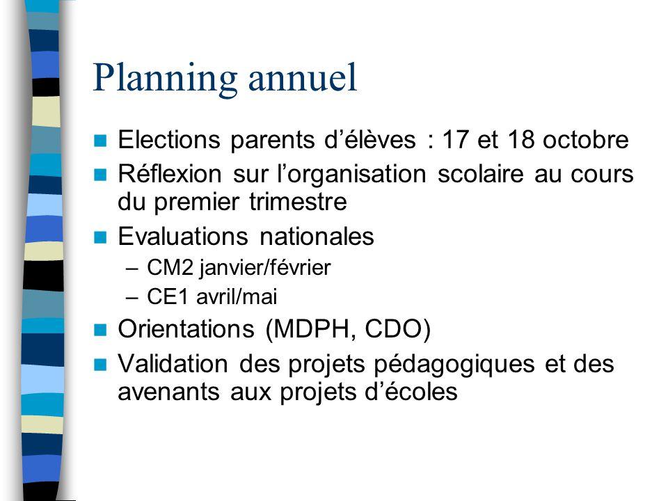 Planning annuel Elections parents d'élèves : 17 et 18 octobre