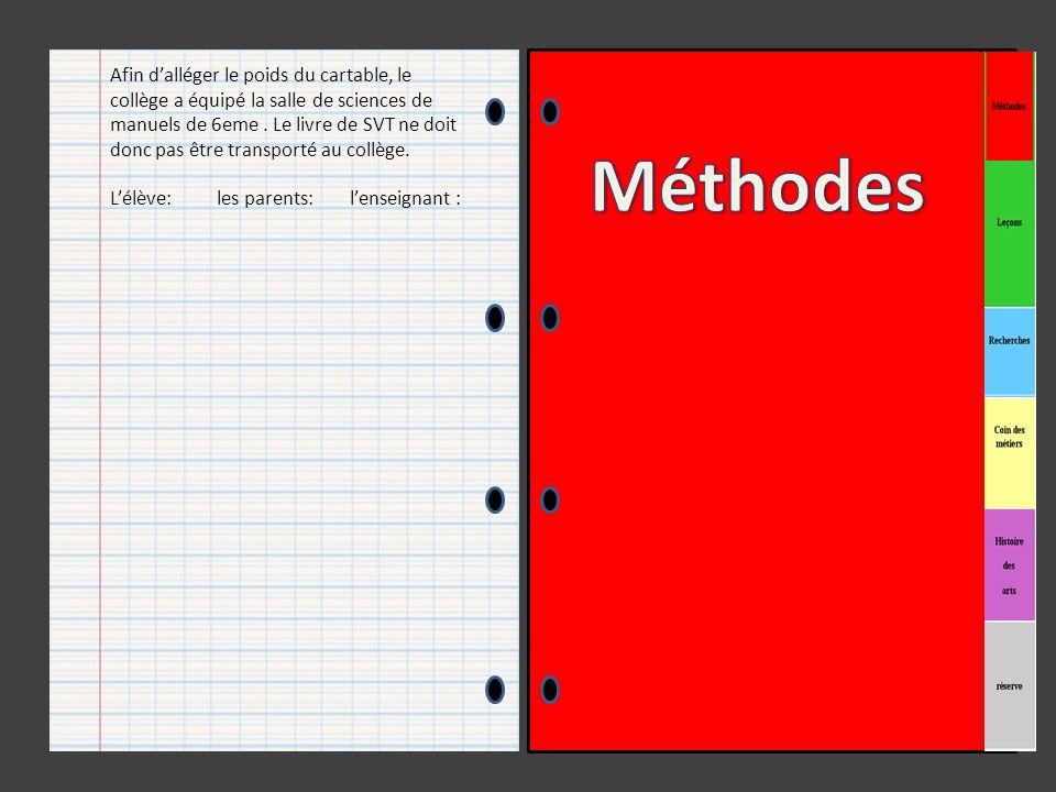 Afin d'alléger le poids du cartable, le collège a équipé la salle de sciences de manuels de 6eme . Le livre de SVT ne doit donc pas être transporté au collège.