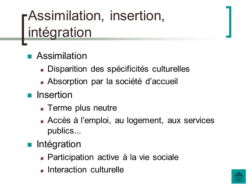 Assimilation, insertion, intégration
