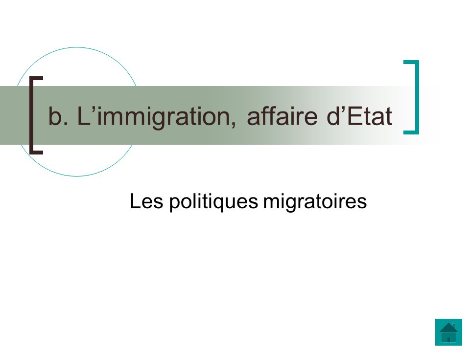 b. L'immigration, affaire d'Etat