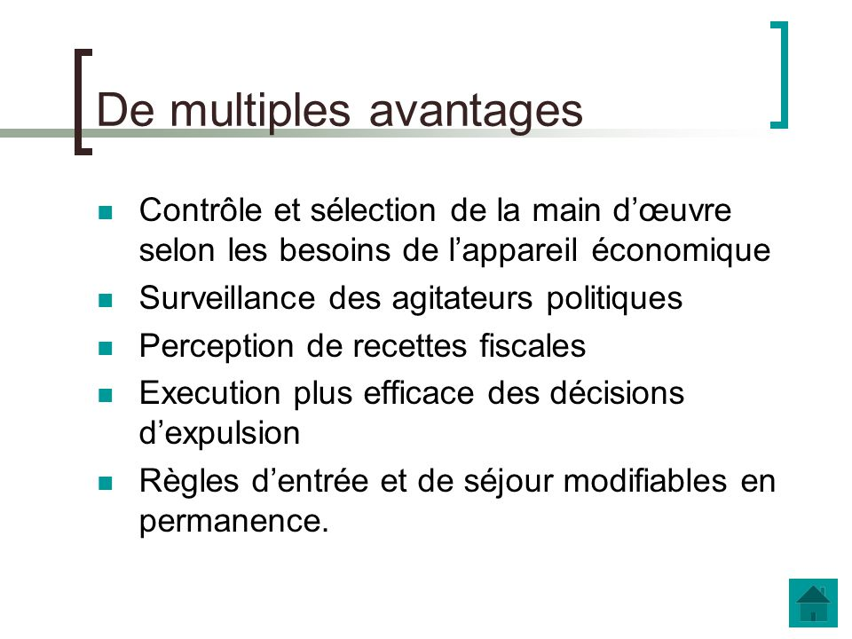 De multiples avantages