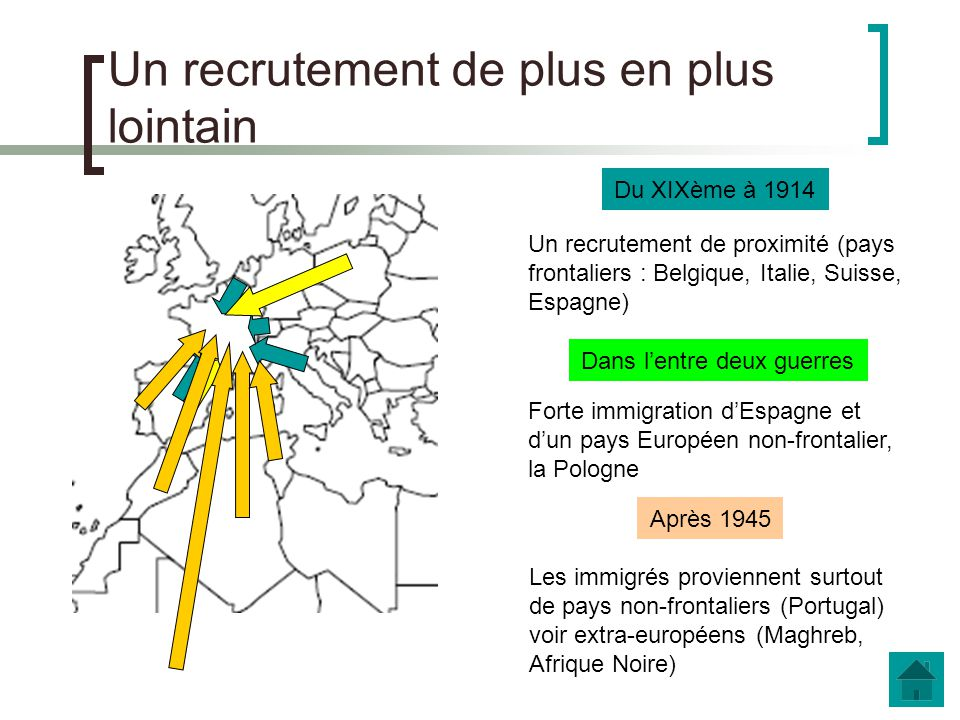 Un recrutement de plus en plus lointain