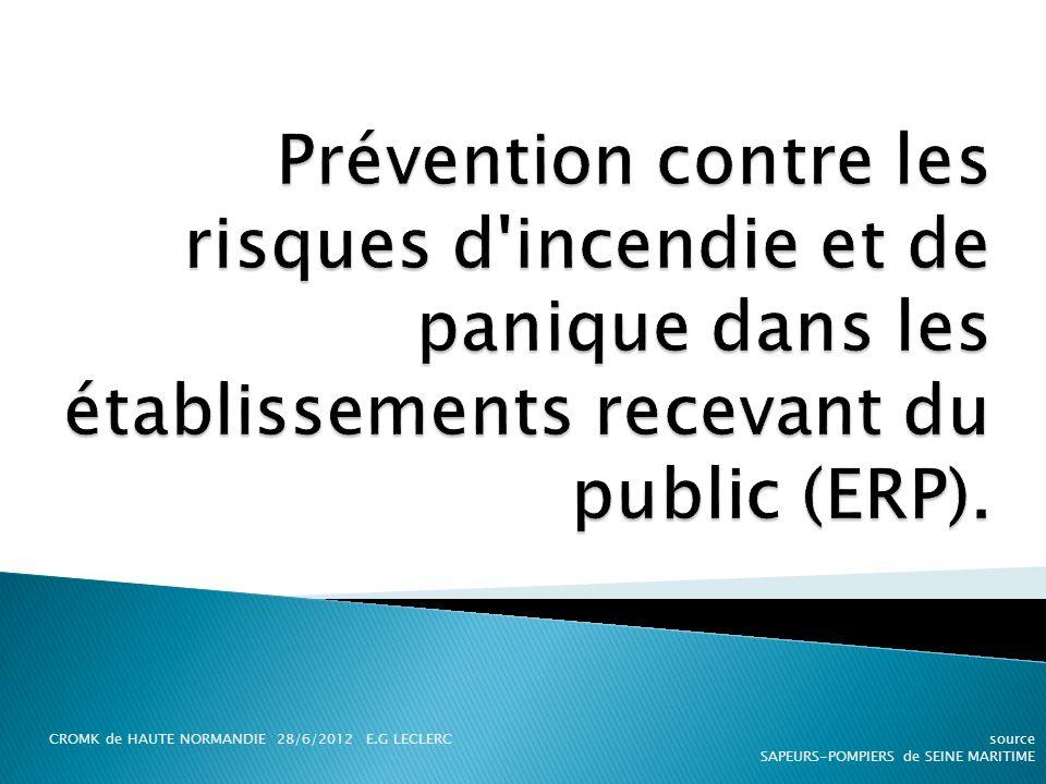 Prévention contre les risques d incendie et de panique dans les établissements recevant du public (ERP).