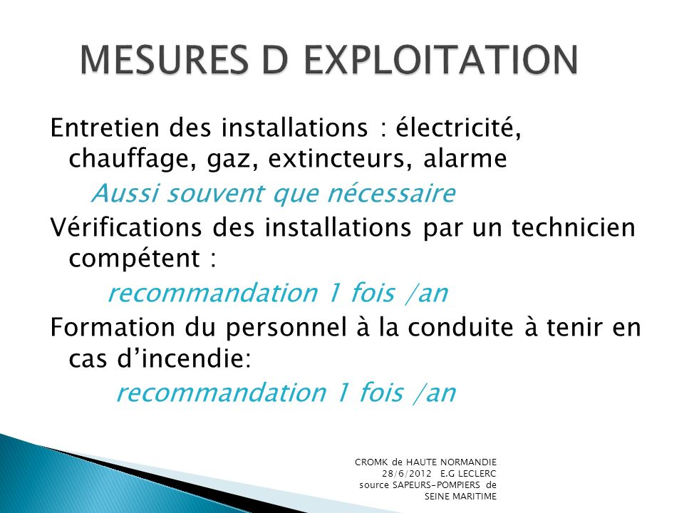 MESURES D EXPLOITATION