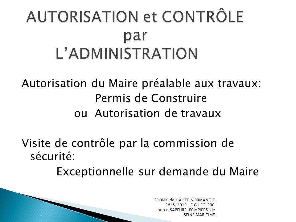 AUTORISATION et CONTRÔLE par L'ADMINISTRATION