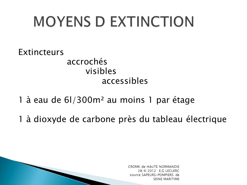 MOYENS D EXTINCTION