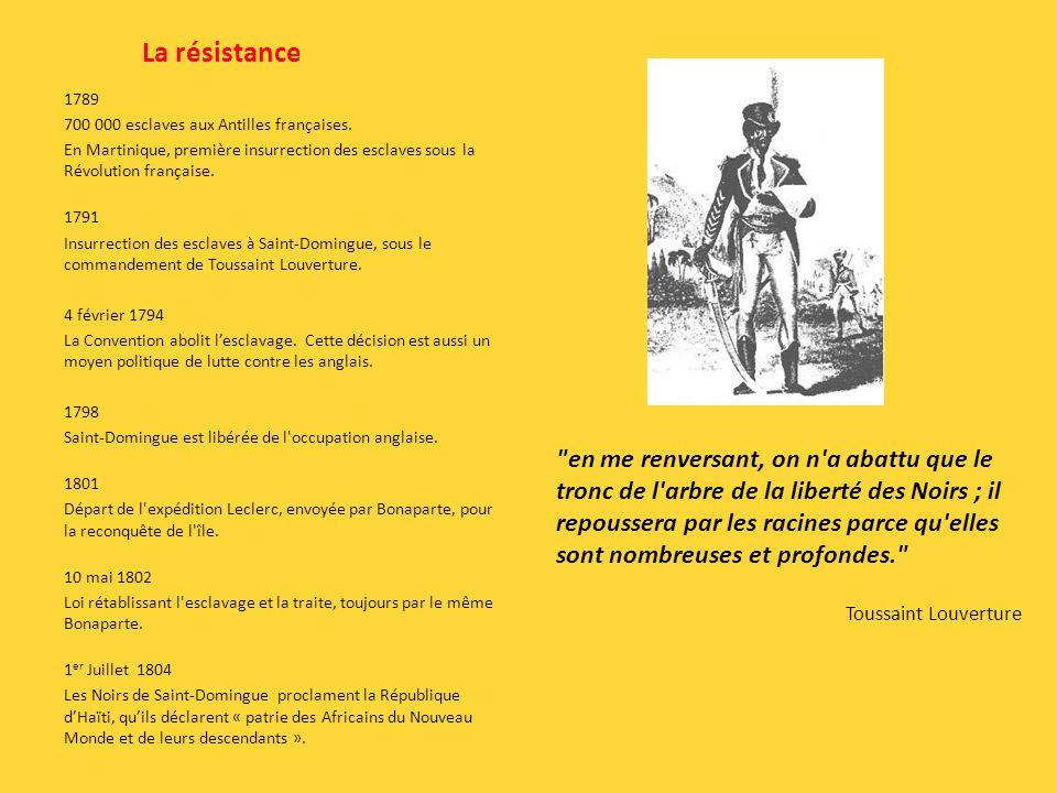 La résistance 1789. 700 000 esclaves aux Antilles françaises. En Martinique, première insurrection des esclaves sous la Révolution française.