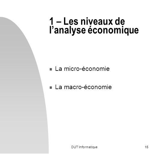 1 – Les niveaux de l'analyse économique