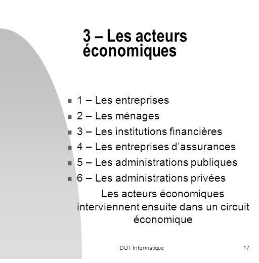 3 – Les acteurs économiques