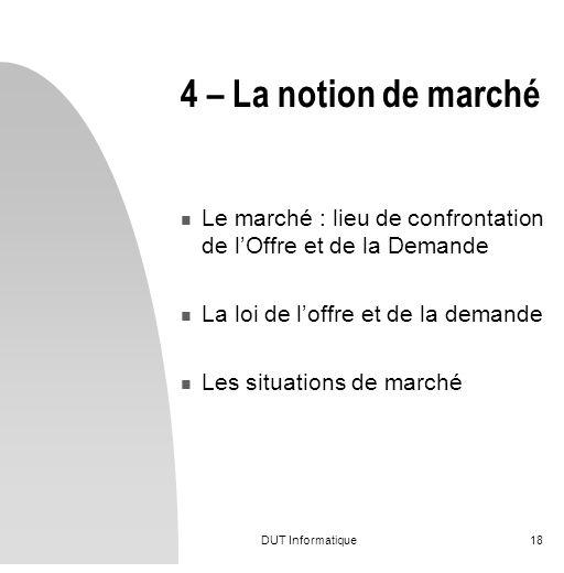 4 – La notion de marché Le marché : lieu de confrontation de l'Offre et de la Demande. La loi de l'offre et de la demande.