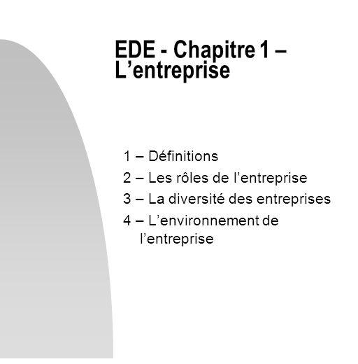 EDE - Chapitre 1 – L'entreprise