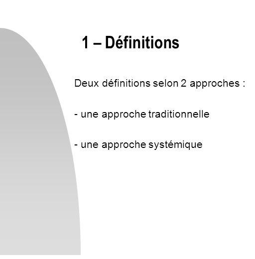 1 – Définitions Deux définitions selon 2 approches :