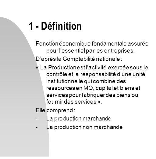 1 - Définition Fonction économique fondamentale assurée pour l'essentiel par les entreprises. D'après la Comptabilité nationale :