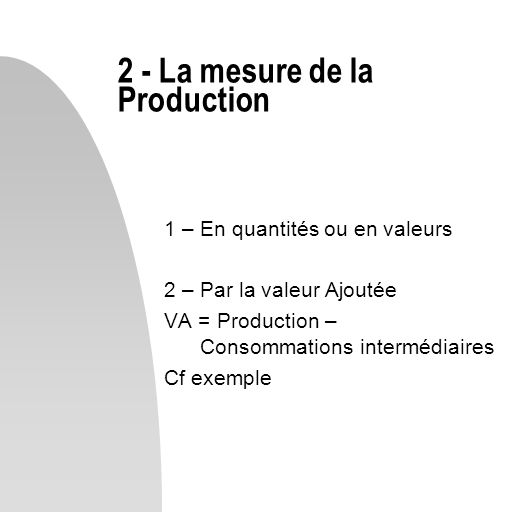2 - La mesure de la Production