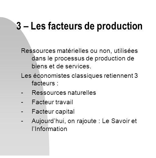 3 – Les facteurs de production