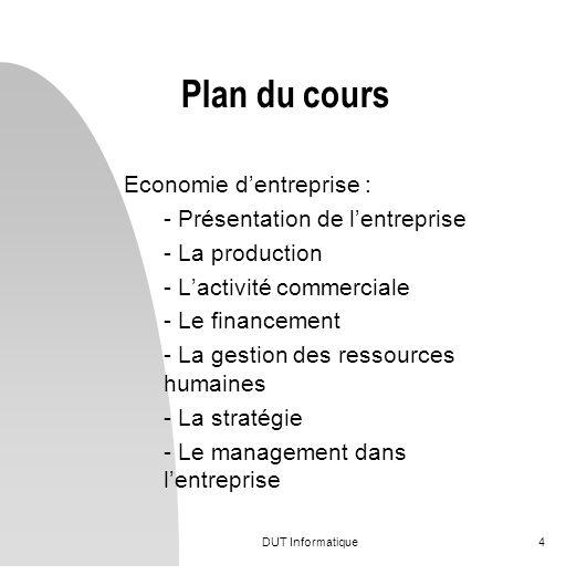 Plan du cours Economie d'entreprise : - Présentation de l'entreprise