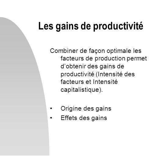 Les gains de productivité