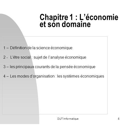 Chapitre 1 : L'économie et son domaine