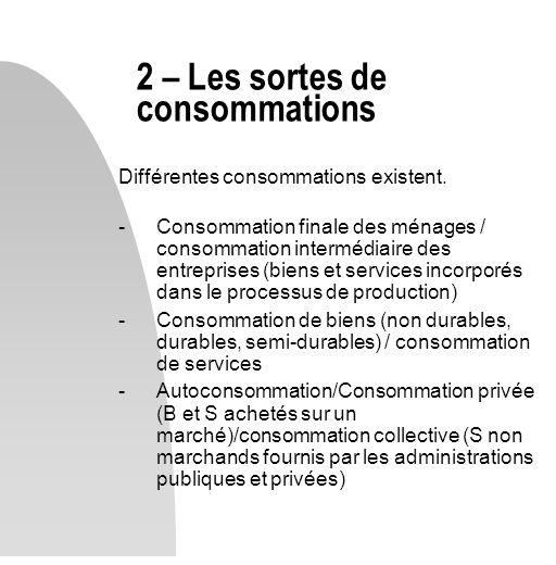 2 – Les sortes de consommations