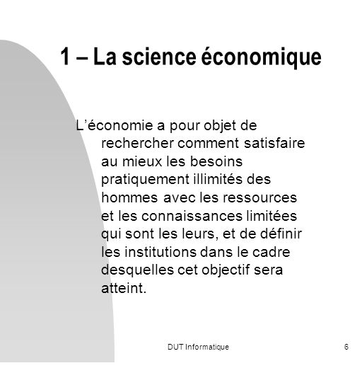 1 – La science économique