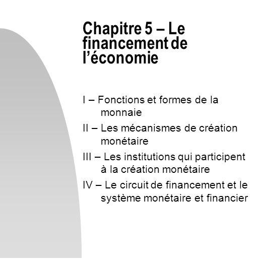 Chapitre 5 – Le financement de l'économie