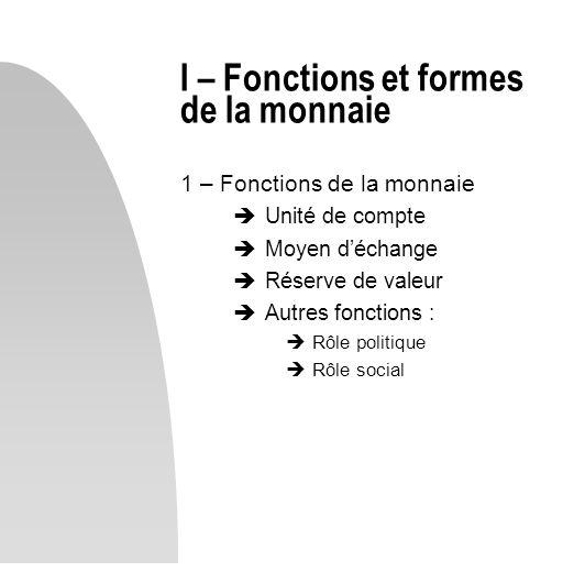 I – Fonctions et formes de la monnaie