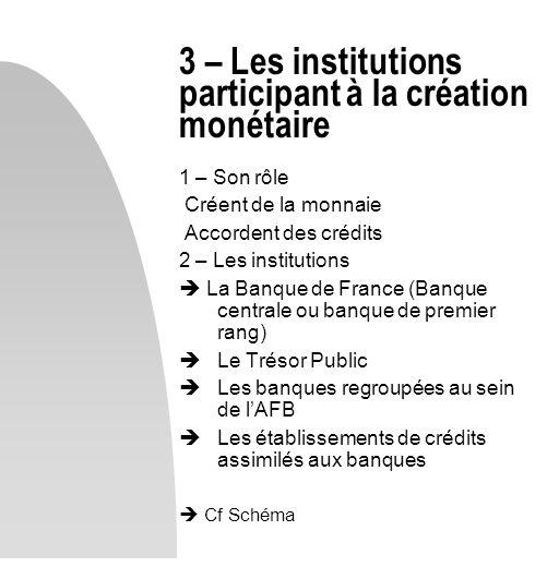 3 – Les institutions participant à la création monétaire