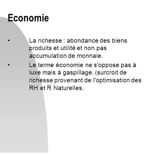 Economie La richesse : abondance des biens produits et utilité et non pas accumulation de monnaie.