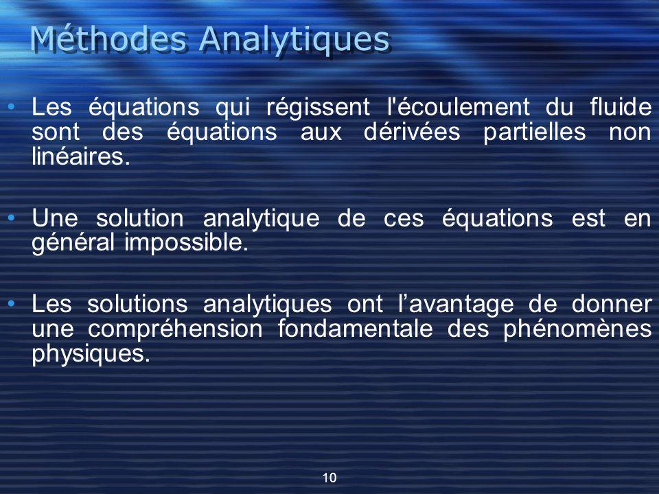 Méthodes Analytiques Les équations qui régissent l écoulement du fluide sont des équations aux dérivées partielles non linéaires.