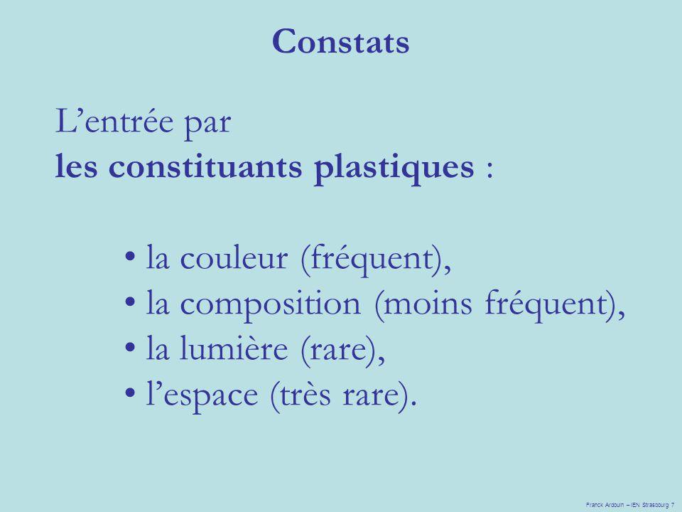 les constituants plastiques : la couleur (fréquent),