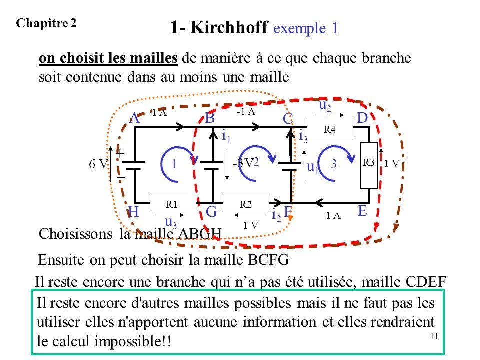 1- Kirchhoff exemple 1 Chapitre 2. on choisit les mailles de manière à ce que chaque branche soit contenue dans au moins une maille.