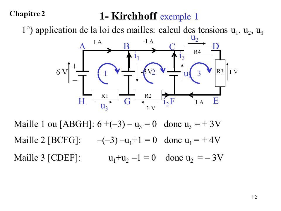 1- Kirchhoff exemple 1 Chapitre 2. 1°) application de la loi des mailles: calcul des tensions u1, u2, u3.