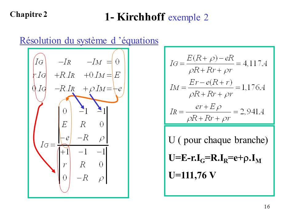 1- Kirchhoff exemple 2 Résolution du système d 'équations