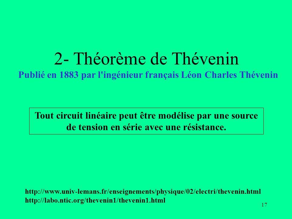 2- Théorème de Thévenin Publié en 1883 par l ingénieur français Léon Charles Thévenin.