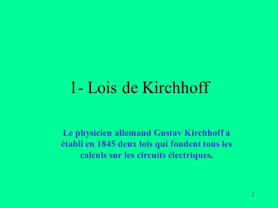 1- Lois de KirchhoffLe physicien allemand Gustav Kirchhoff a établi en 1845 deux lois qui fondent tous les calculs sur les circuits électriques.