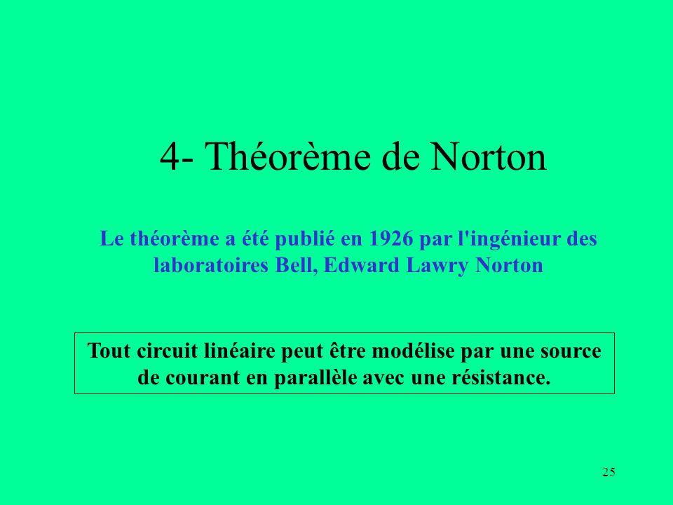 4- Théorème de Norton Le théorème a été publié en 1926 par l ingénieur des laboratoires Bell, Edward Lawry Norton.