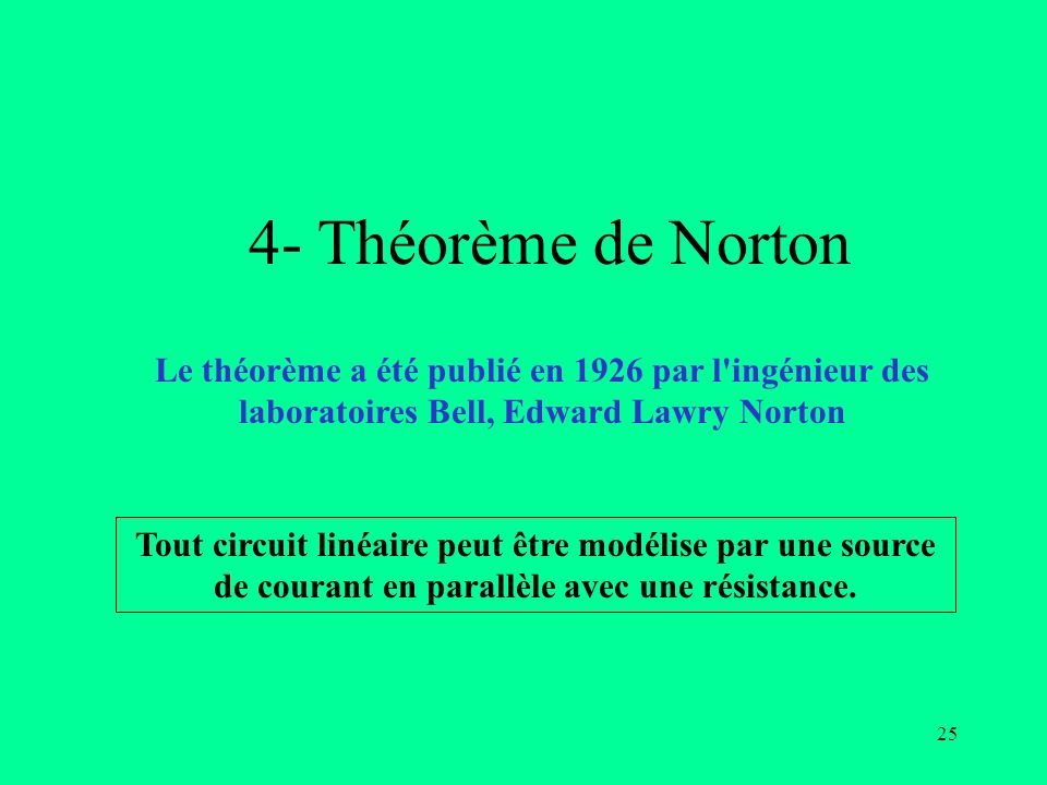 4- Théorème de NortonLe théorème a été publié en 1926 par l ingénieur des laboratoires Bell, Edward Lawry Norton.