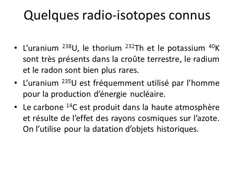 Quelques radio-isotopes connus