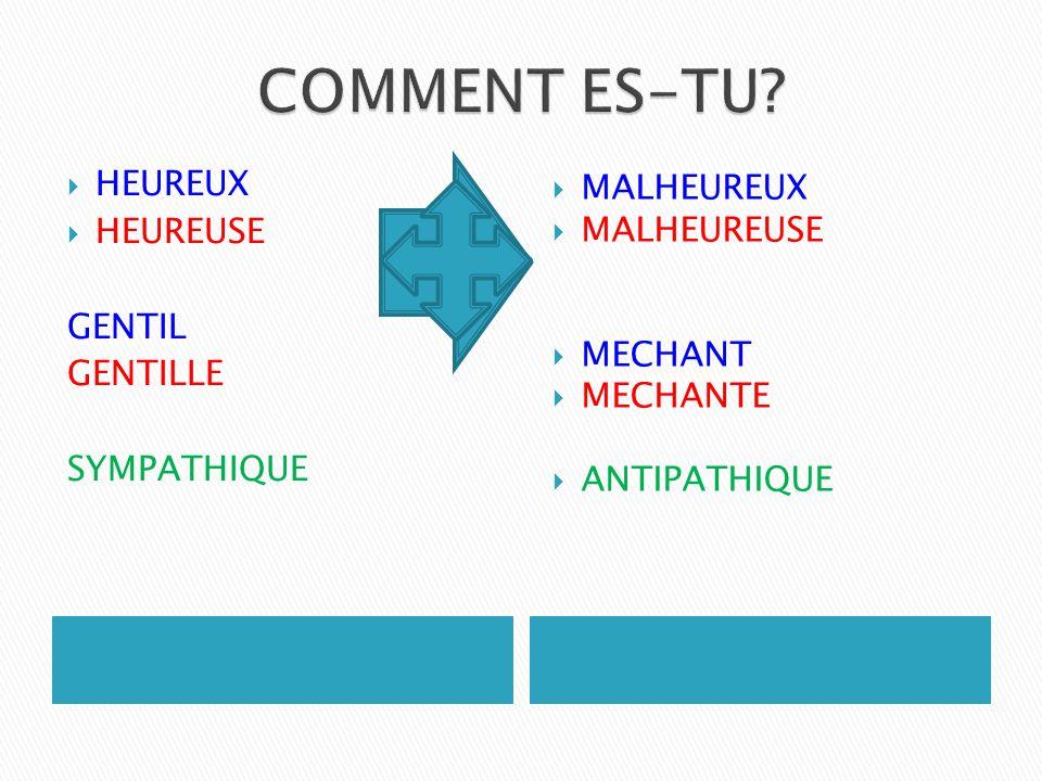 COMMENT ES-TU HEUREUX MALHEUREUX HEUREUSE MALHEUREUSE GENTIL MECHANT