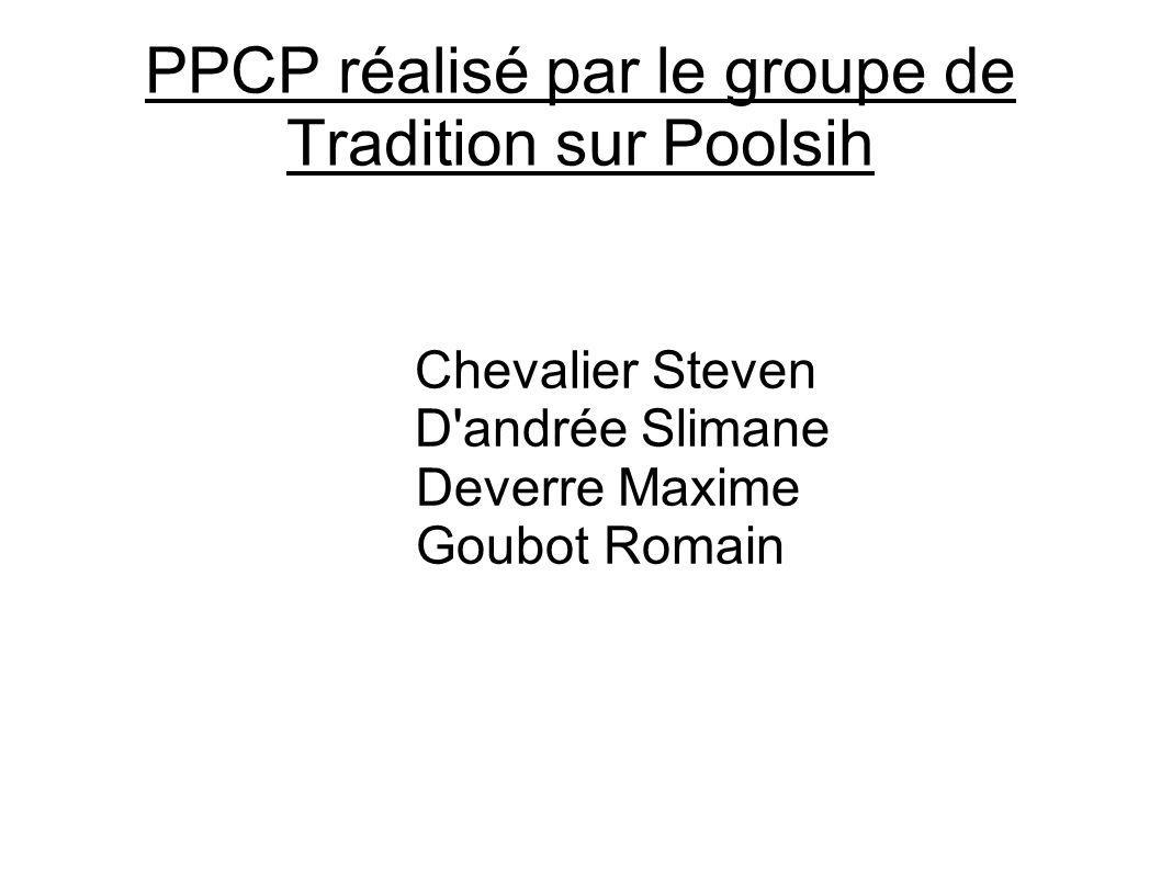 PPCP réalisé par le groupe de Tradition sur Poolsih